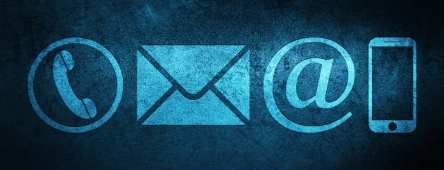 Contact us icon (phone, email, email address and smartphone) special blue banner background